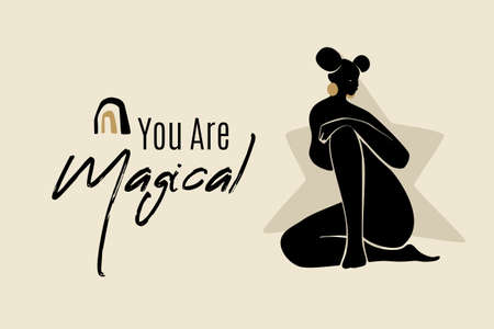 You Are Magical banner template with sitting African American woman silhouette. Modern vector abstract flat stock graphic illustration with young beautiful black woman wearing golden earrings.
