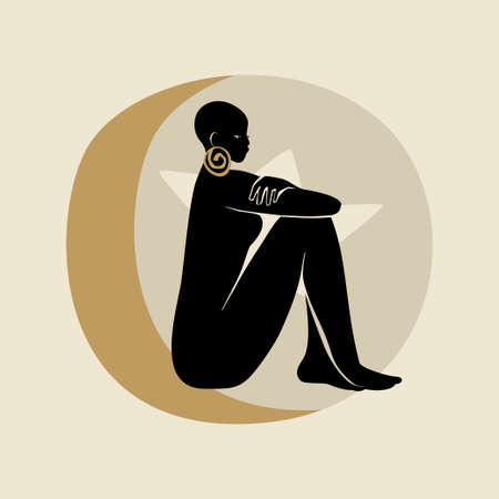 Sitting Afro Woman. Silhouette of female figure, sun, star, and moon. Modern flat vector illustration isolated on gray background. Black girls magic concept. Illustration