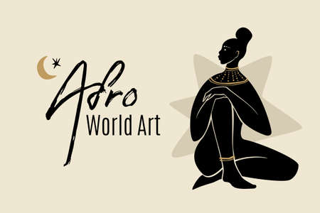 Afro World Art banner template with sitting african american woman silhouette. Modern vector abstract flat stock graphic illustration with young beautiful black woman wearing golden necklace.