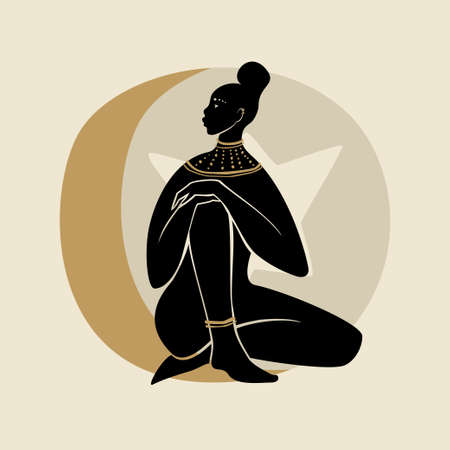 Sitting Woman With Golden Necklace. Silhouette of female figure, sun, star, and moon. Modern flat vector illustration isolated on gray background. Black girls magic concept.