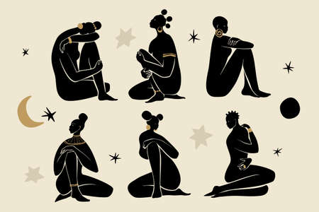 Black sitting girls wearing gold jewelry. Silhouettes of female figures, sun, stars, and moon. Modern flat vector illustration isolated on gray background. Black girls magic concept.