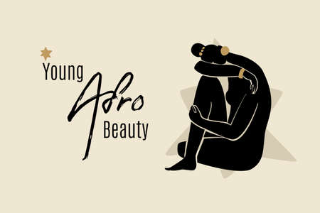 Young afro beauty banner template with sitting African American woman silhouette. Modern vector abstract flat stock graphic illustration with young beautiful black woman wearing golden earrings.