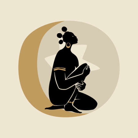 Black Woman With Three Afro Pufs. Silhouette of female figure, sun, star, and moon. Modern flat vector illustration isolated on gray background. Black girls magic concept.