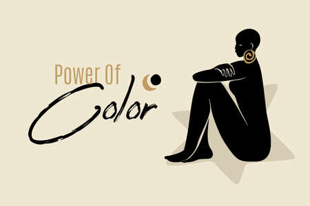 Power Of Color banner template with sitting African American woman silhouette. Modern vector abstract flat stock graphic illustration with young beautiful black woman wearing golden earrings.