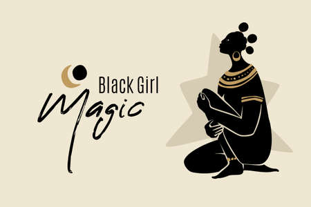 Black Girl Magic banner template with sitting African American woman silhouette. Modern vector abstract flat stock graphic illustration with young beautiful black woman wearing golden necklace and earrings. Illustration