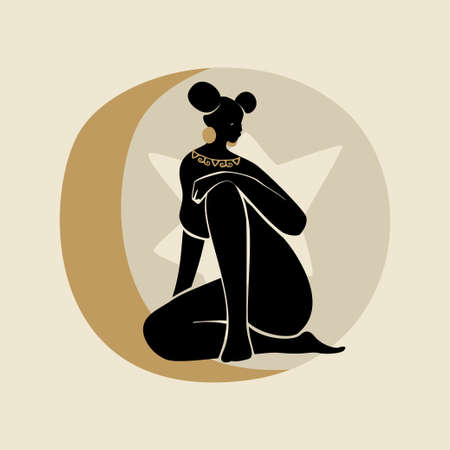 Sitting Woman With Two Afro Puffs. Silhouette of female figure, sun, star, and moon. Modern flat vector illustration isolated on gray background. Black girls magic concept.