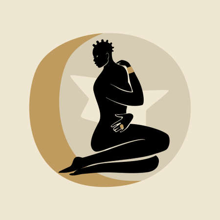Sitting Woman With Afro Hair. Silhouette of female figure, sun, star, and moon. Modern flat vector illustration isolated on gray background. Black girls magic concept.
