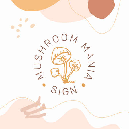 Porcini mushroom emblem template in contemporary organic style isolated on white background. Modern fungi concept.