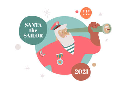Santa The Sailor greeting card in modern festive design. Santa Claus with spyglass looking to 2021.