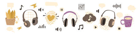 Headphones and audio elements set. Media and entertainment vector concept  イラスト・ベクター素材