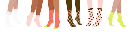 Six female pairs of legs in glamor socks, isolated on white background. Flat cartoon colorful vector illustration. 矢量图像