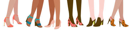 Six female pairs of legs in high heels  on white