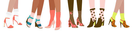 Six female pairs of legs in high heels and socks: slingbacks, pumps, wedge-heeled shoes, clogs, stilettos, isolated on white background. Flat cartoon colorful vector illustration. Illustration