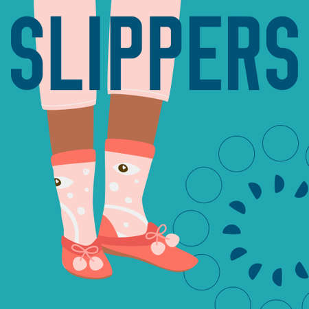 SLIPPERS word and female legs in funny socks and slippers. Bright colorful fashion design. Vector banner template for shoe themed businesses.
