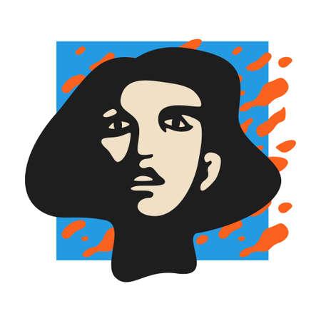 Female face pop-styled stencil vector illustration. Modern pop-art composition for posters, covers, placards, handbills, flyers, web banners, social media posts. Illusztráció
