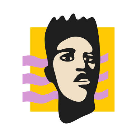 Male face pop-styled stencil vector illustration. Modern pop-art composition for posters, covers, placards, handbills, flyers, web banners, social media posts.
