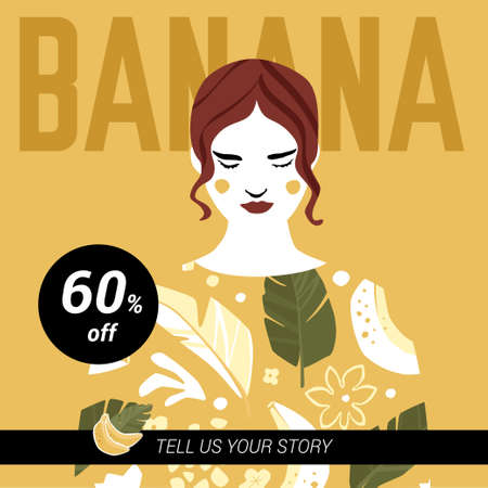 Banana square banner template with young girl in banana sweatshirt looking down. Trendy fashion design in mustard colors. Season sale or beauty product discount vector concept.