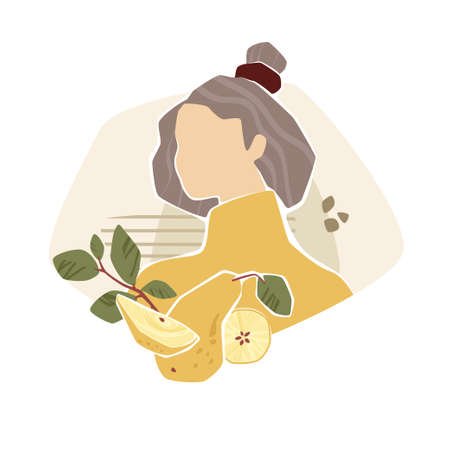 Faceless girl with yellow pear and leaves. Modern fashion vector illustration in mustard colors. Illusztráció
