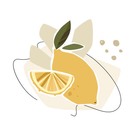 Lemon abstract composition with leaves and abstract shapes isolated on white background. Trendy vector concept.