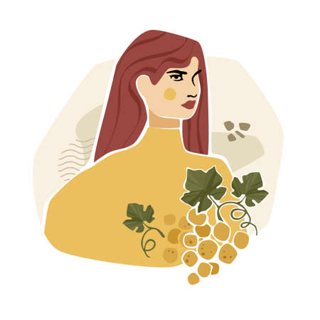 Girl with grape, leaves and abstract shapes. Modern fashion vector illustration in mustard colors.