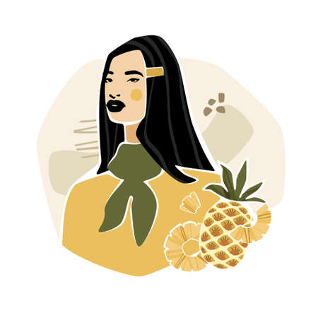 Girl with pineapple and abstract shapes. Modern fashion vector illustration in mustard colors.