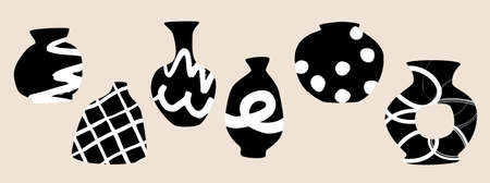 Abstract black and white ornamental vases. Ceramic and pottery vector design with hand-drawn textures isolated on gray background.