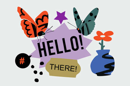 Hello There banner template with butterflies, abstract vase, stickers, and flower. Vector flat cartoon composition.
