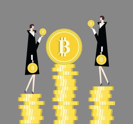 Lots of bitcoins illustration bit coin BTC new virtual money concept Stock Photo