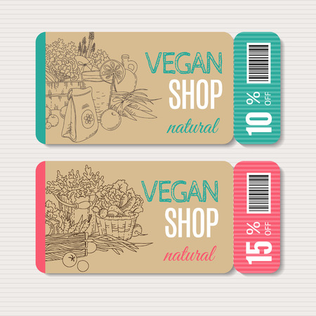Vector cardboard coupon set. Modern hand drawn design for sale and discount of vegetarian shop, web, site, advertising, sticker and print. Concept for natural organic products shop, flyer design. Stock Illustratie