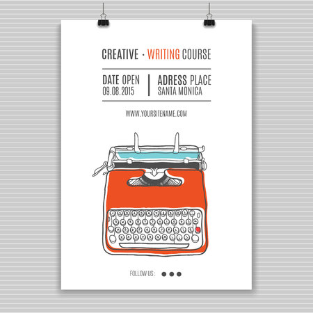 Vector template for creating writing course advertising.Vintage printing illustration  with retro typewriter. Illustration