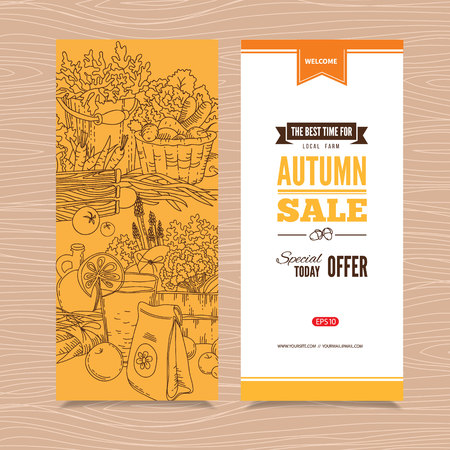 Banner with autumn harvest, vegetables and herbs. Perfect design for farm market advertising, farming industry and bio product business. Business identity for bio products and agricultural industry.