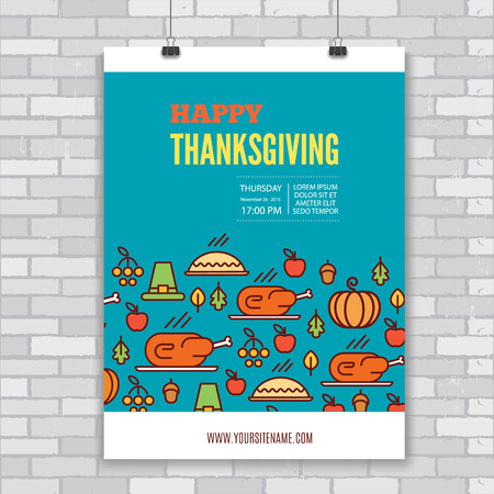 publicidad exterior: Vector  Thanksgiving Day poster template with turkey, pie, pumpkin, settlers hat, autumn leaves and vegetables. Modern line art design for advertising, external advertisement or invitation.