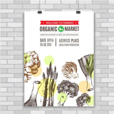 food industry: Organic food poster. Fresh vegetables. Vector illustration. Ideal for use in organic food industry, healthy green food market, vegetarian restaurant. Illustration