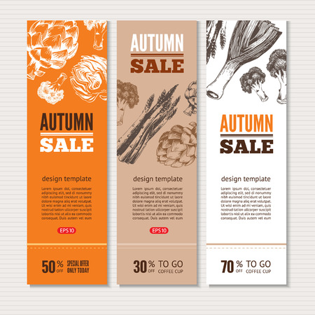 Banners about sale and special offers in organic shop. Hand-drawn vector illustration includes leeks, broccoli, asparagus, artichoke. Ideal for use healthy green food market, vegetarian restaurant. Ilustração