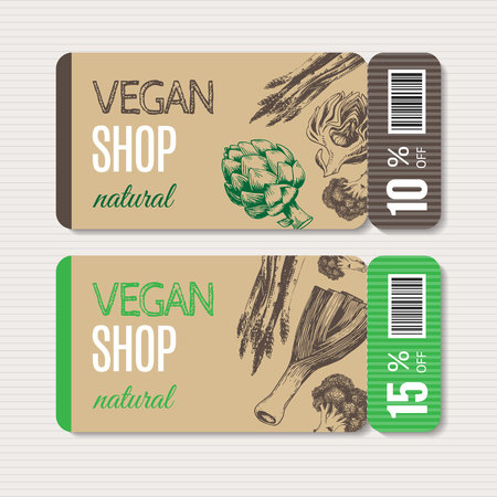 Promotional coupon for sale, special offers in organic shop. Hand-drawn illustration includes leeks, broccoli, asparagus, artichoke. Ideal for use healthy green food market, vegetarian restaurant.