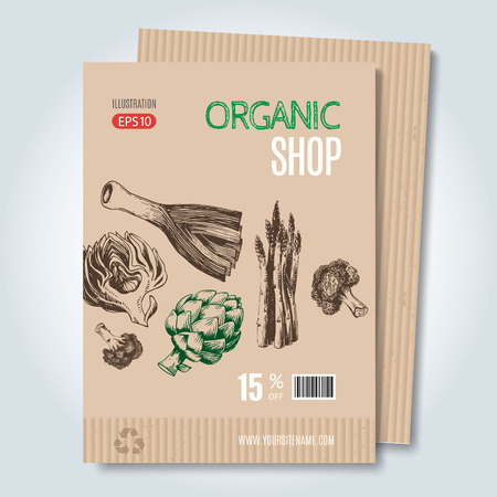 leek: Vector cardboard template. Modern hand drawn style for sale and discount of vegetarian shop, web, periodical, advertising, sticker and print. Concept for natural organic products shop, cover design.