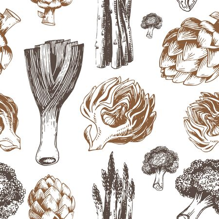 Fresh organic vegetables seamless pattern. Hand drawing style illustration. Template for web, print industry, brand advertising.