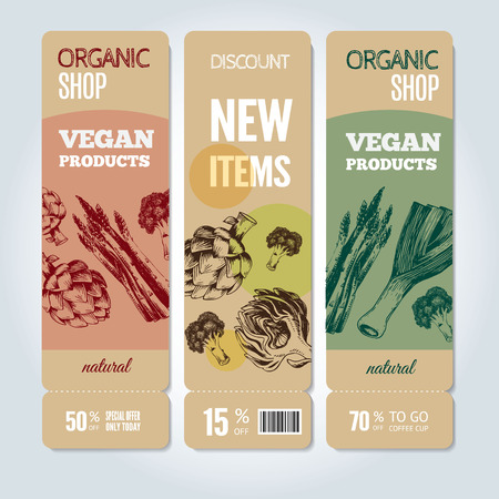 Banners about sale and special offers in organic shop. Hand-drawn vector illustration includes leeks, broccoli, asparagus, artichoke. Ideal for use healthy green food market, vegetarian restaurant.