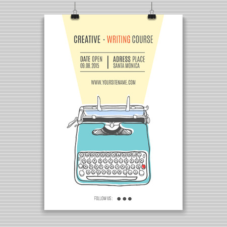 scriptwriter: Vector template for creating writing course advertising.Vintage printing illustration  with retro typewriter. Illustration