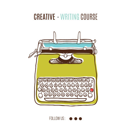 Vector template for creating writing course advertising.Vintage printing illustration  with retro typewriter. Ilustração