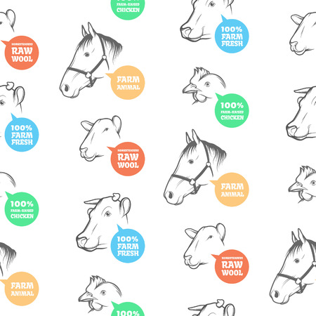 packaging industry: Seamless Pattern with different farm animals, including cow, chicken, sheep and horse. Perfect design for farming industry, original packaging and other types of bio product business. Illustration