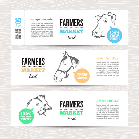 cow head: Set of horizontal banners with cow, sheep  and chicken. Perfect  for farm market advertising, farming, other types of bio product business. Business identity for bio products, agricultural industry. Illustration