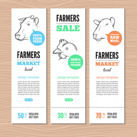 chiken: Set of vertical banners with cow, sheep  and chicken. Perfect  for farm market advertising, farming, other types of bio product business. Business identity for bio products, agricultural industry.