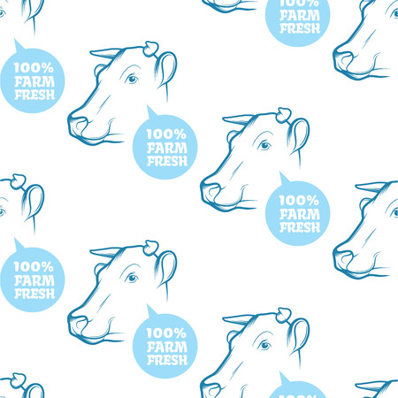packaging industry: Seamless Pattern with cow. Perfect design for farming industry, original packaging and other types of bio product business. Modern business identity for bio products and agricultural industry.