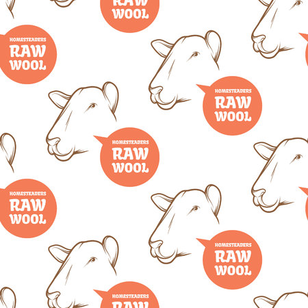 packaging industry: Seamless Pattern with sheep. Perfect design for farming industry, original packaging and other types of bio product business. Modern business identity for bio products and agricultural industry. Illustration