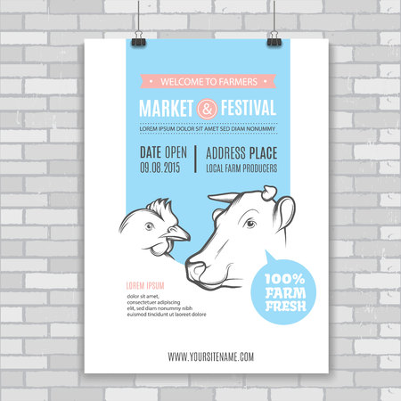 cow head: Poster design template with cow and chicken. Perfect design for farm market advertising, farming and other types of bio product business. Identity for bio products and agricultural industry.