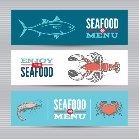 prawn: Seafood vector billboards, banners set with seafood.Template for web, print industry, brand advertising. Illustration