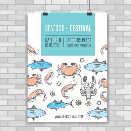 mariscos: Mariscos del vector cartelera, poster.Template para la web, la industria de impresión o la publicidad de marca. Ilustración Festival. Vectores