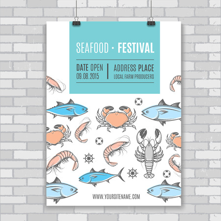 food packaging: Seafood vector billboard, poster.Template for web, print industry or brand advertising. Festival illustration.