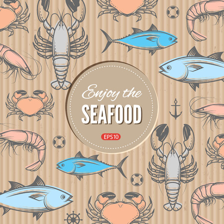 lobster: Seafood vector design template with seafood. Illustration for web, print industry, brand advertising.